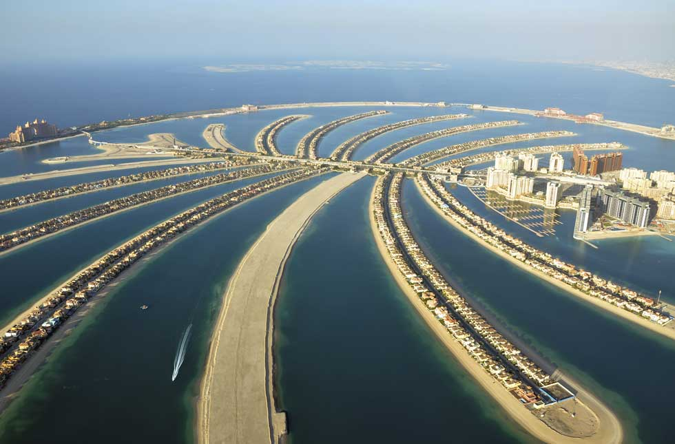 Vista aérea das residências em Palm Jumeirah