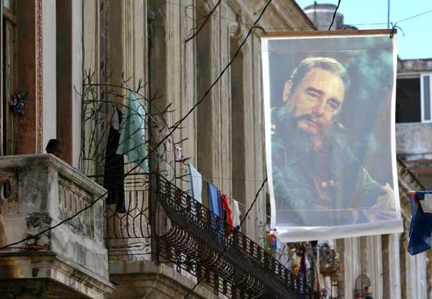 A imagem de Castro num prédio de Havana