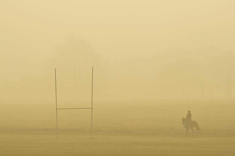 REINO UNIDO, 23.03.2012. Um cavaleiro e o seu cavalo no parque Richmond, Londres, ao entardecer.