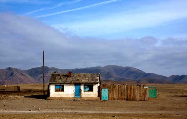 Uma das casas da aldeia de mineiros