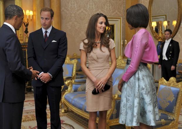 Maio de 2011 - No Palácio de Buckigham com Barack Obama e a primeira-dama, Michelle Obama