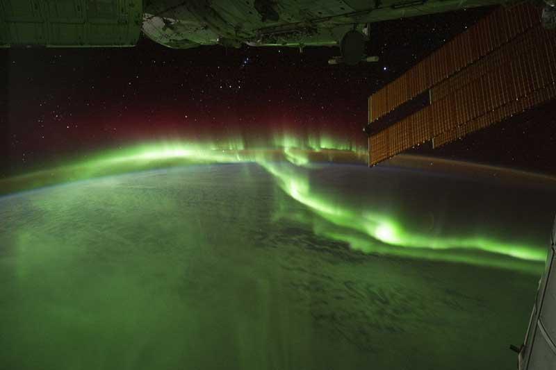 Aurora Austral captada por astronautas a partir da Estação Espacial Internacional. Passavam sobre o Oceano Índico (17.09.2011)