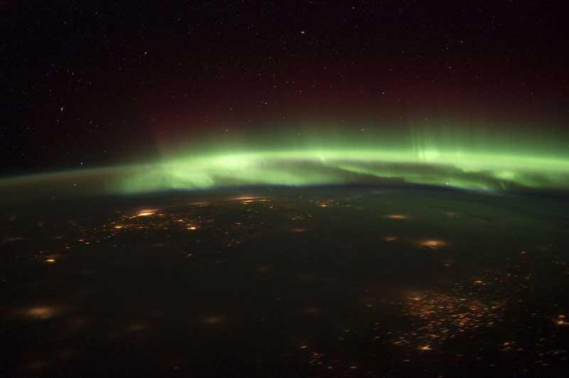 Aurora Boreal a partir da Estação Espacial Internacional, com os EUA em foco (25.01.2012)