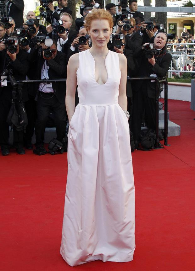 A actriz Jessica Chastain em Alexander McQueen