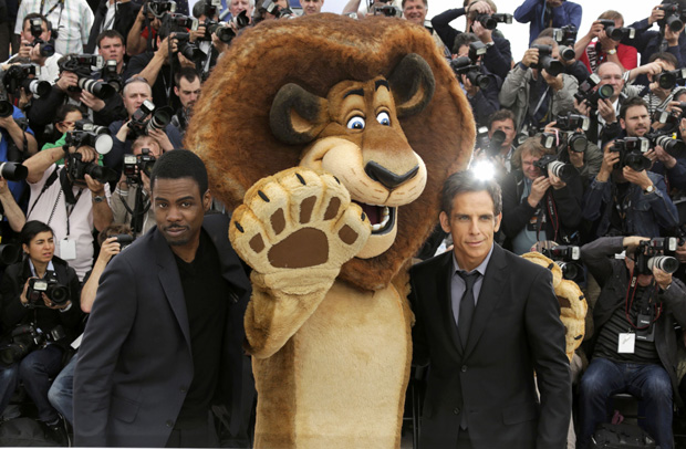 Os actores norte-americanos Ben Stiller e Chris Rock durante a promoção do filme no festival de cinema de Cannes