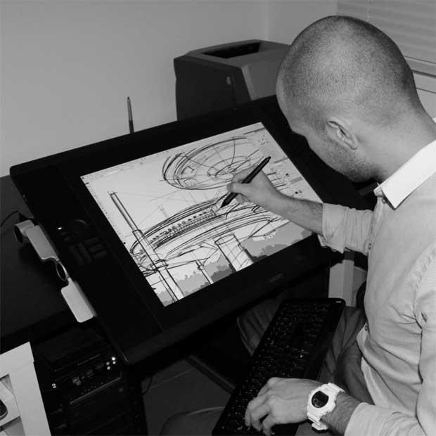 O arquitecto Pawel Podwojewski a desenhar o hotel
