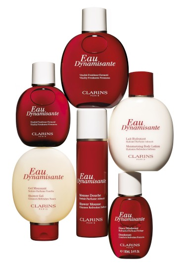 A gama completa de produtos para o corpo de Eau Dynamisante, da Clarins