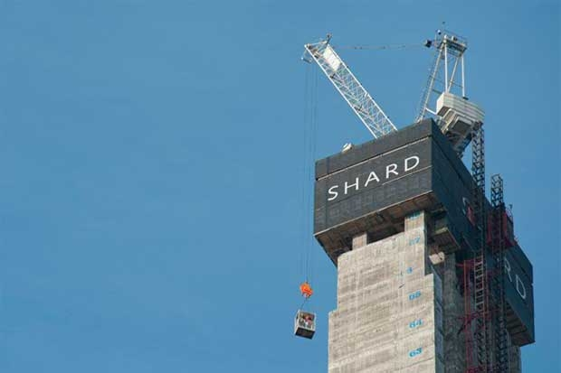 Durante a construção do Shard