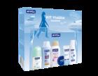 Para além da clássica lata azul, ideal para ter sempre à mão, este kit contém creme hidratante de dia, hidratante corporal, desodorizante, gel duche e champô.