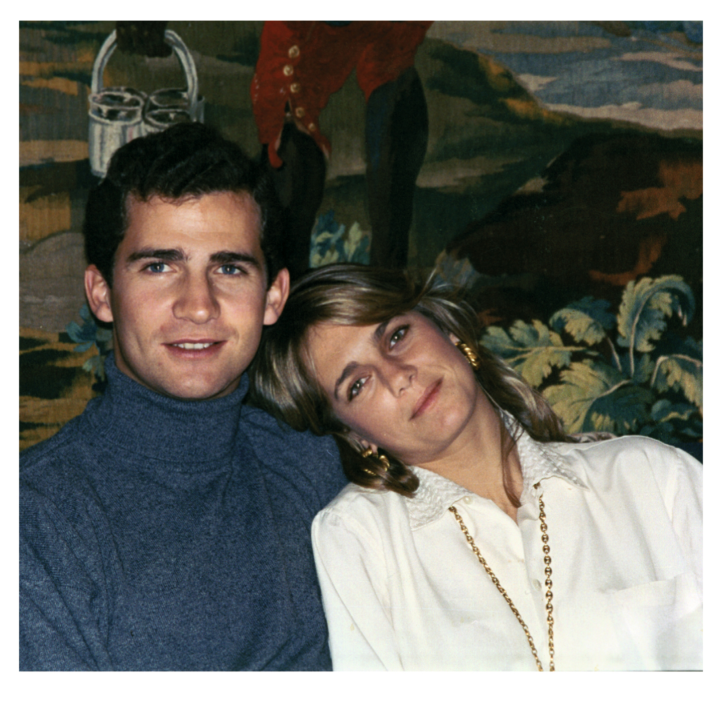 Isabel e o príncipe Felipe no Palácio da Zarzuela, 1990