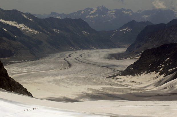 SUÍÇA, 25.07.2012. No glaciar Aletschgletscher, perto de Jungfraufirn. Altitude: 3454m