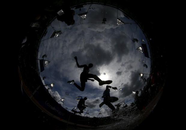 REINO UNIDO, 03.08.2012. Durante a prova de 3000m obstáculos, nos Jogos Olímpicos de Londres (com câmara olho-de-peixe)