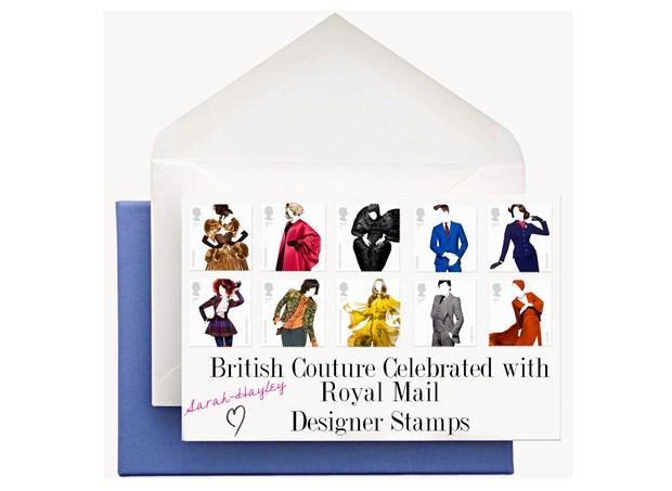Amy de la Haye, daLondon College of Fashion, seleccionou os estilosmais marcantes da moda britânicadesde o pós-guerra para criar esta edição limitada de dez selos que custa cerca de €8,30