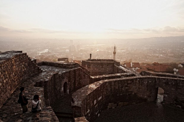 Vista sobre Ancara, a capital turca, a partir do seu velho castelo
