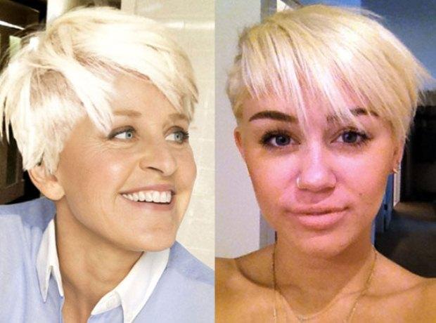 Ellen DeGeneres partilhou no Twitter uma fotomontagem onde imita o penteado de Miley Cyrus.