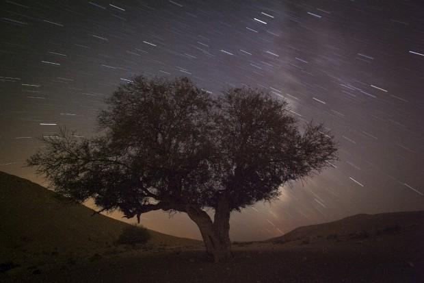 Uma longa exposição durante uma chuva de Perseidas perto de Mitzpe Ramon, Israel. A 13/08/2012