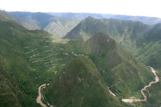 Vista aérea da zona de Machu Picchu