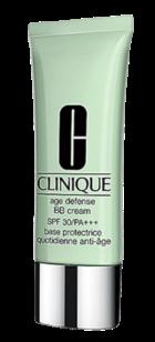 Age Defense BB Cream SPF 30. Adequado para todos os tipos de pele, tem uma textura fluida e capacidade para controlar a oleosidade e o brilho, bem como disfarçar imperfeições e rugas. Existe em três tons diferentes.