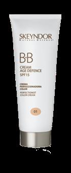 BB Cream Age Defence. Além das funções de hidratação, cuidados anti-envelhecimento e da protecção solar, faz a função de corrector e iluminador.