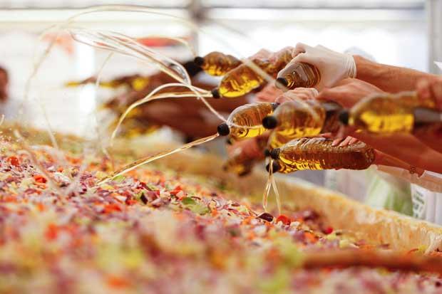 ROMÉNIA, 23/09/2012. Um momento em que dezenas de voluntários juntam azeite a uma megasalada em Pantelimon, perto de Bucareste. Objectivo: bater o recorde Guinness da maior salada do mundo. Foram 19kgs de salada variada