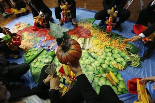 Activistas levantam legumes de plástico e escavadoras de brincar sobre um mapa do continente africano, em Tóquio.