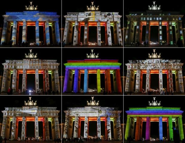 Um puzzle com as variações luminosas da Porta de Bradenburgo