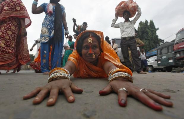 Uma devota em Calcutá