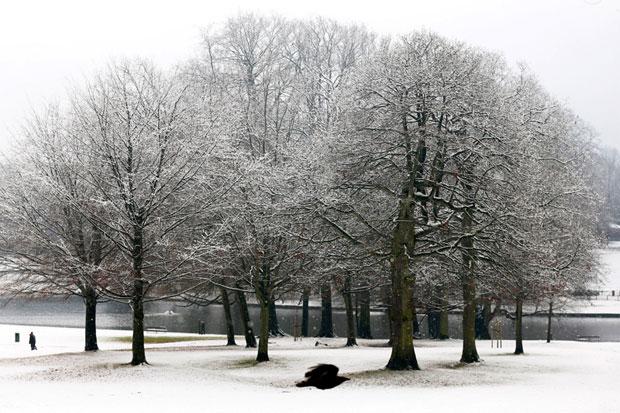 BÉLGICA, 2.12.2012. Voo de pássaro numa Bruxelas a receber o seu primeiro nevão