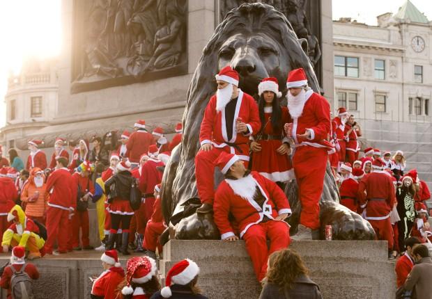 Reunião de Pais Natal na Trafalgar Square  de Londres: é uma