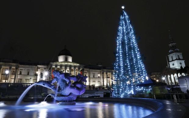 Esta árvore de 21m veio de uma floresta perto de Oslo para iluminar a Trafalgar Square de Londres
