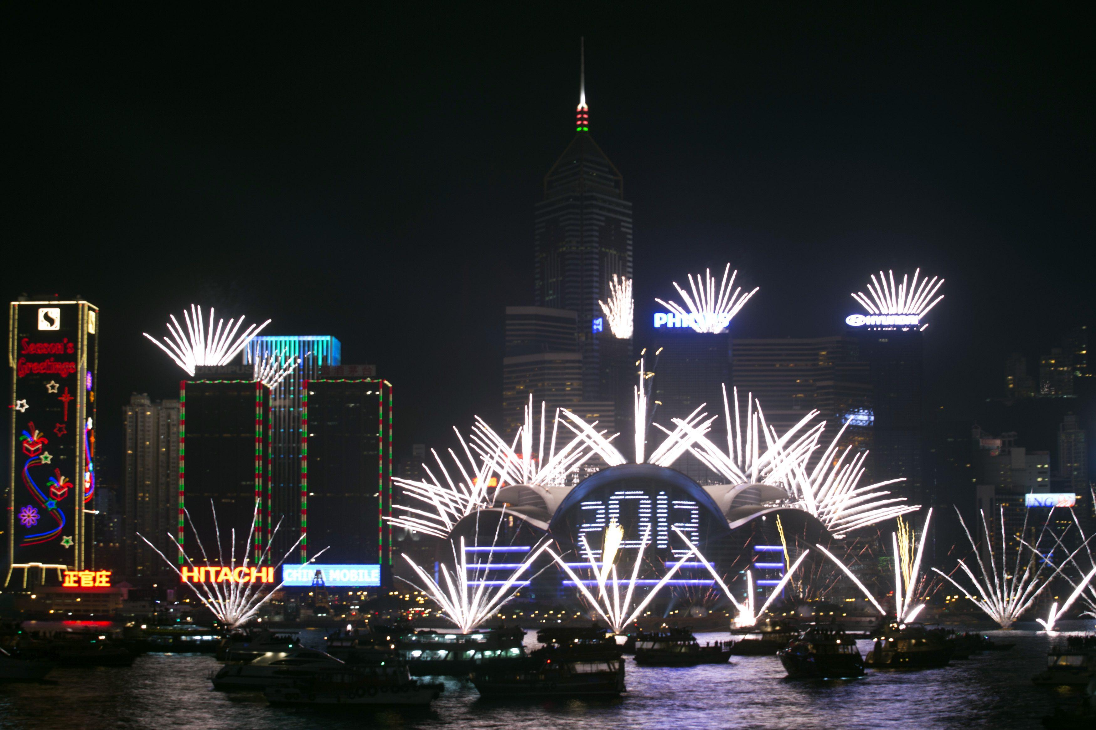 Fogo-de-artifício em Hong Kong para celebrar a chegada do novo ano