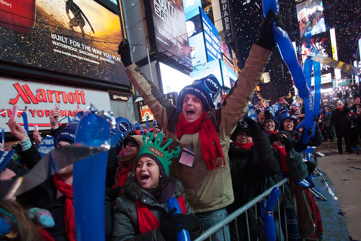 Celebração da entrada do novo ano em Times Square, Nova Iorque