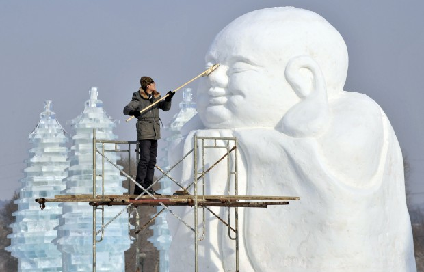 Na China, a preparar o festival internacional de neve e gelo de Shenyang