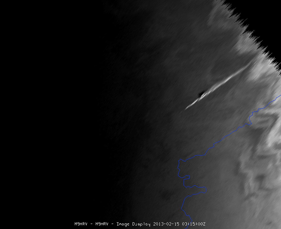 Imagem de satélite do rasto do meteoro