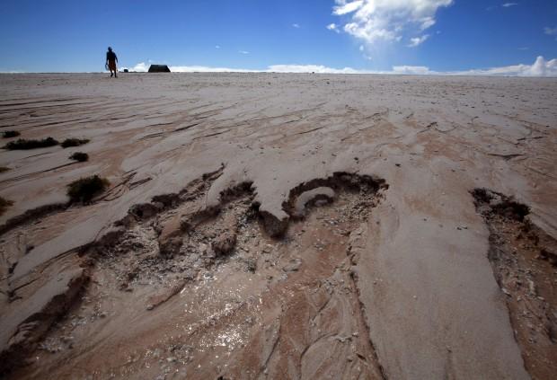 Areias movediças na  ilhota de Bikeman