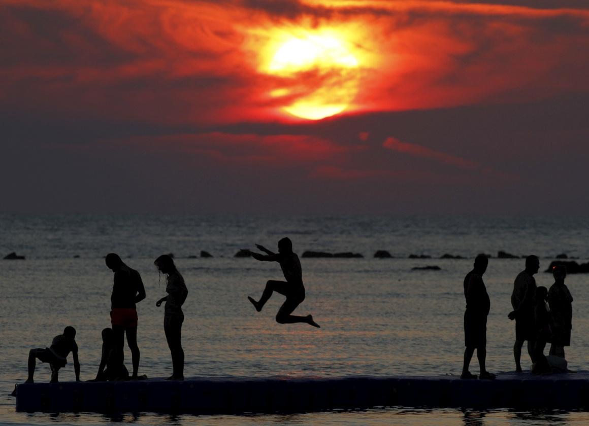 ALBÂNIA, 13.08.2013. Na praia, na cidade de Durres, a cerca de 40km de Tirana