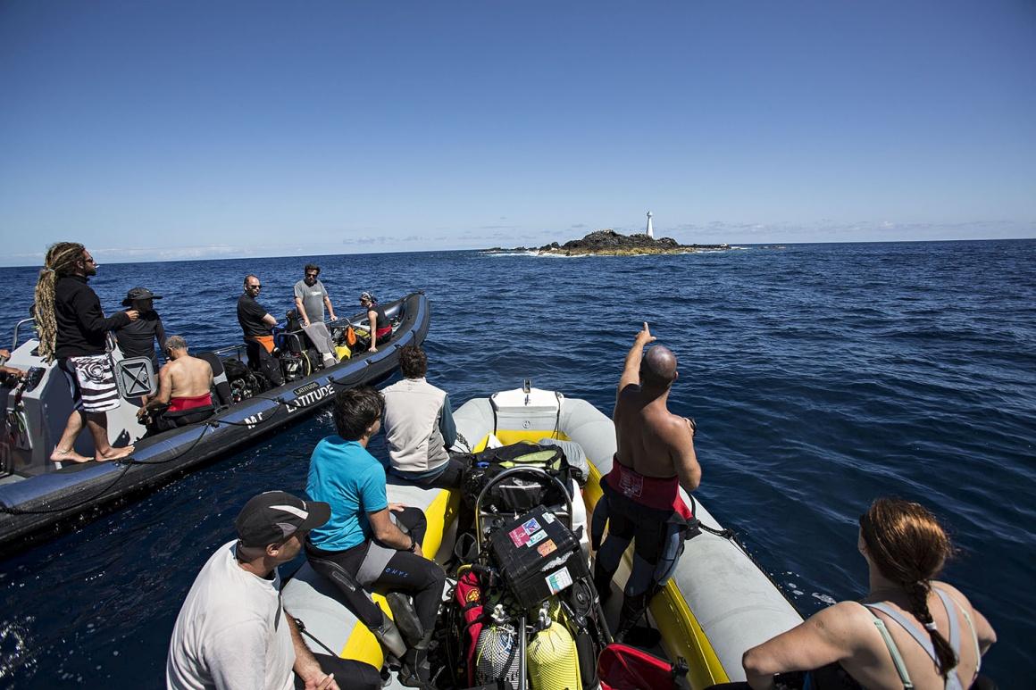 Mergulhadores a caminho do ilhéu das Formigas, que se vê ao fundo