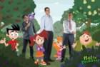 Os responsáveis pela Nutri Ventures (da esquerda para a direita): Rodrigo Carvalho, Rui Lima Miranda e Pedro Van Zeller, com algumas das personagens da série de animação