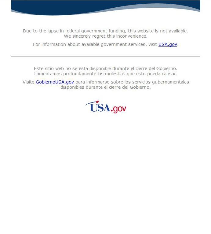 Site mantido pelo Governo norte-americano indisponível devido ao <i>shutdown</i>