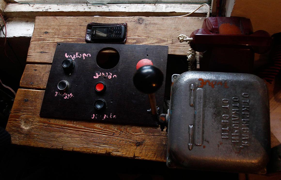 Detalhe do sistema de controlo do teleférico