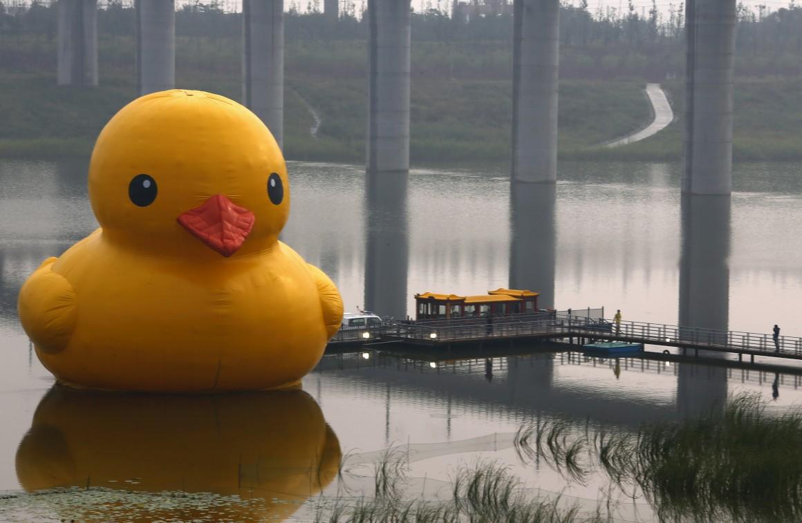Num lago de Pequim