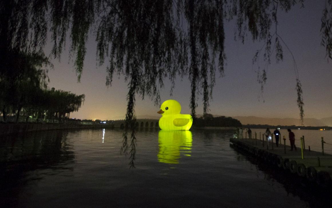 Num lago em Pequim