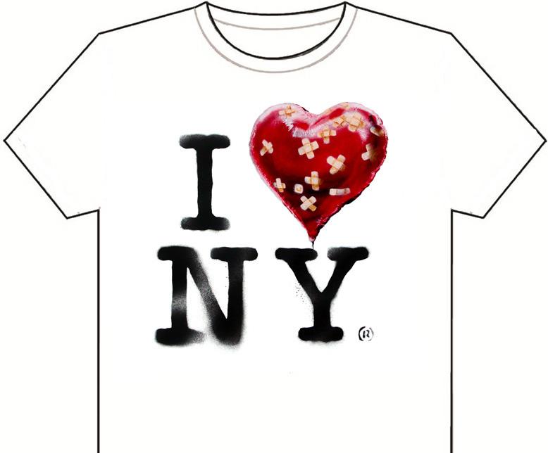 O artista criou uma t-shirt-souvenir da sua residência em NYC. Mas nem a vende, disponibiliza o desenho no seu site para que, quem quiser, leve a imagem a uma loja para imprimir a peça