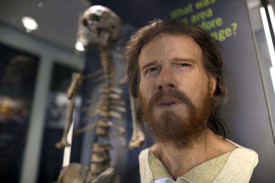 A reconstrução, muito realista, da cabeça de um homem do Neolítico