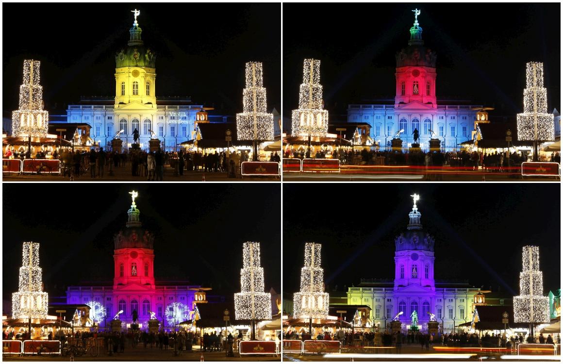 Alemanha, o conjunto de quatro imagens mostra o jogo de luzes do mercado de Natal frente ao castelo Charlottenburg em Berlim