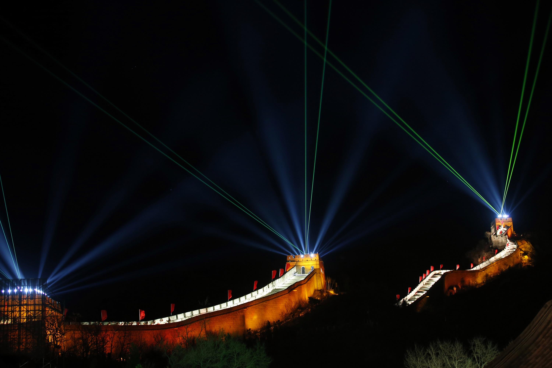 Espectáculo de lasers na Grande Muralha da China