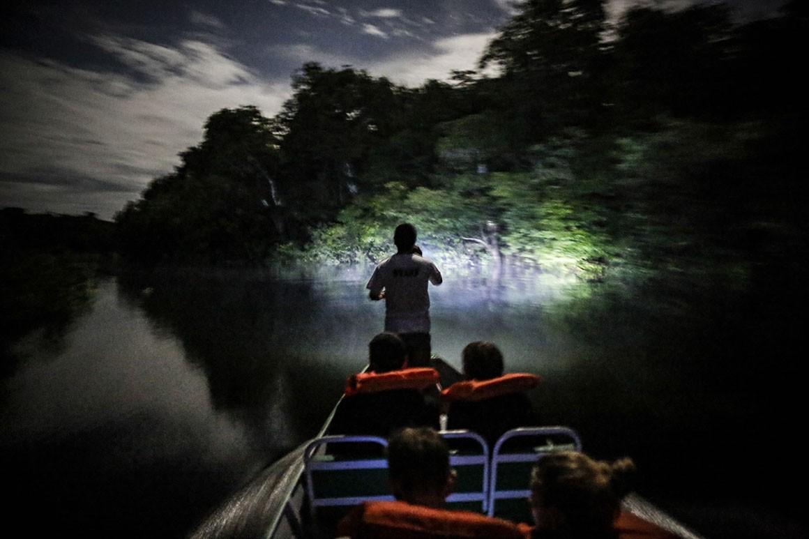 À noite, pelo rio para ver os jacarés