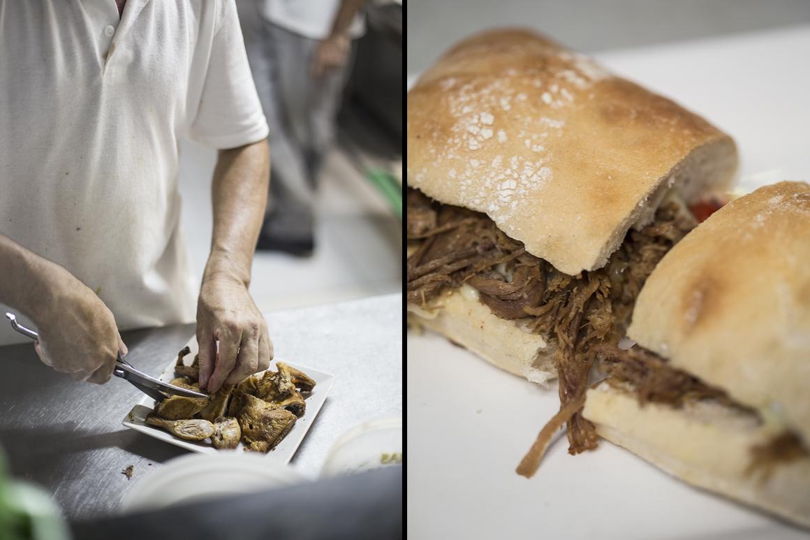 Frango e sandes de carne assada também figuram entre as especialidades
