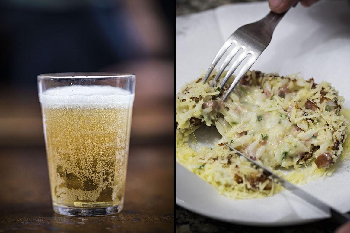 Bolinho de arroz do Momo e cerveja gelada