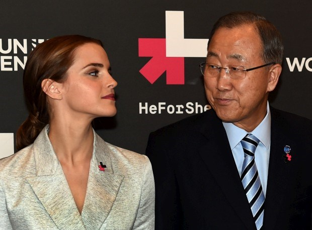 A actriz Emma Watson com o secretário-geral da ONU, Ban Ki-moon